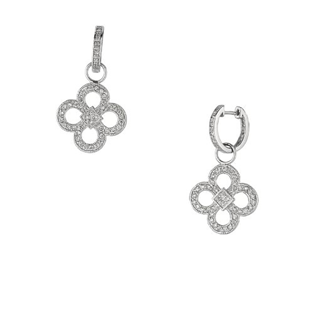 White Gold and Diamond Clover Drop Earrings