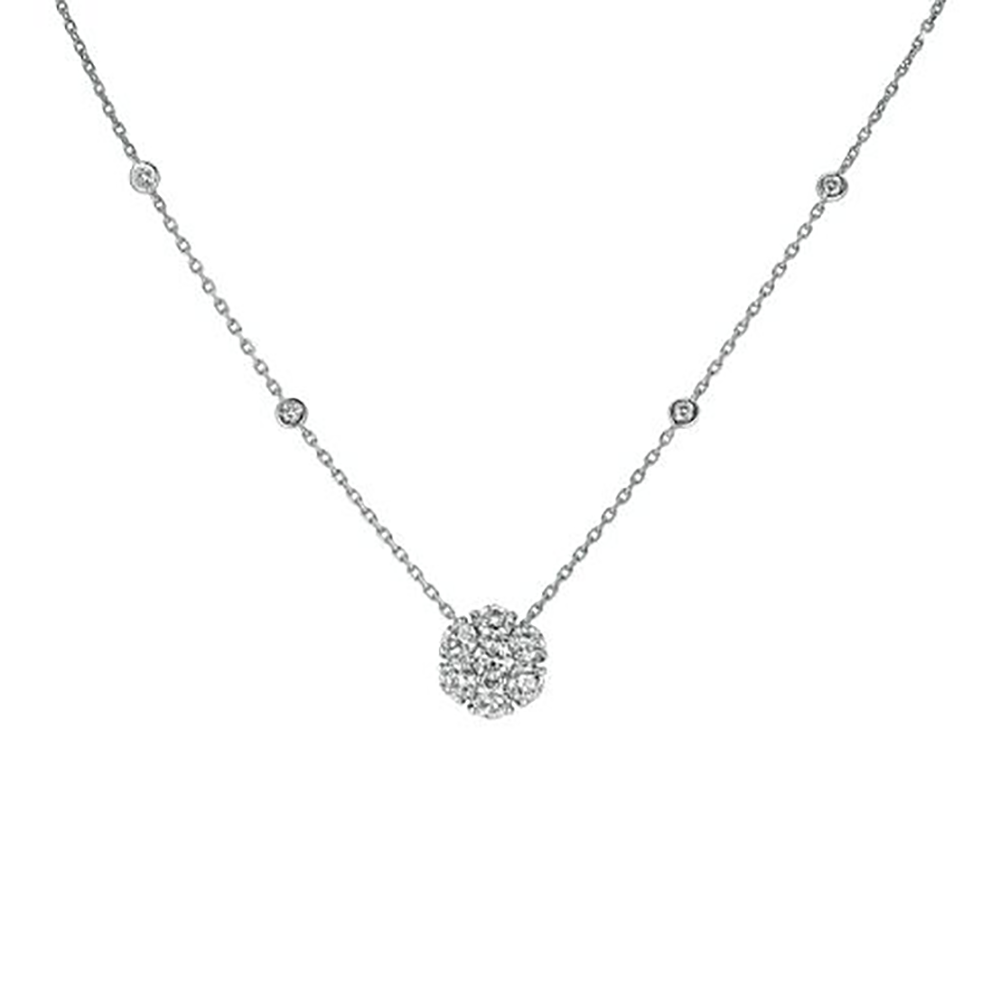 White Gold Station Necklace