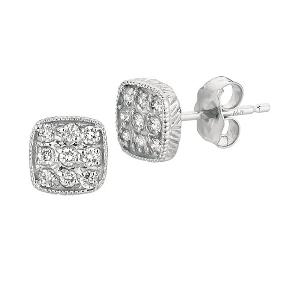 White Gold Diamond Square Stud Earrings