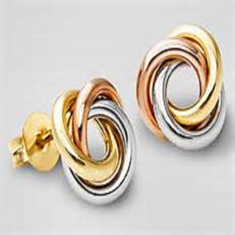 TRI-COLOR GOLD EARRINGS