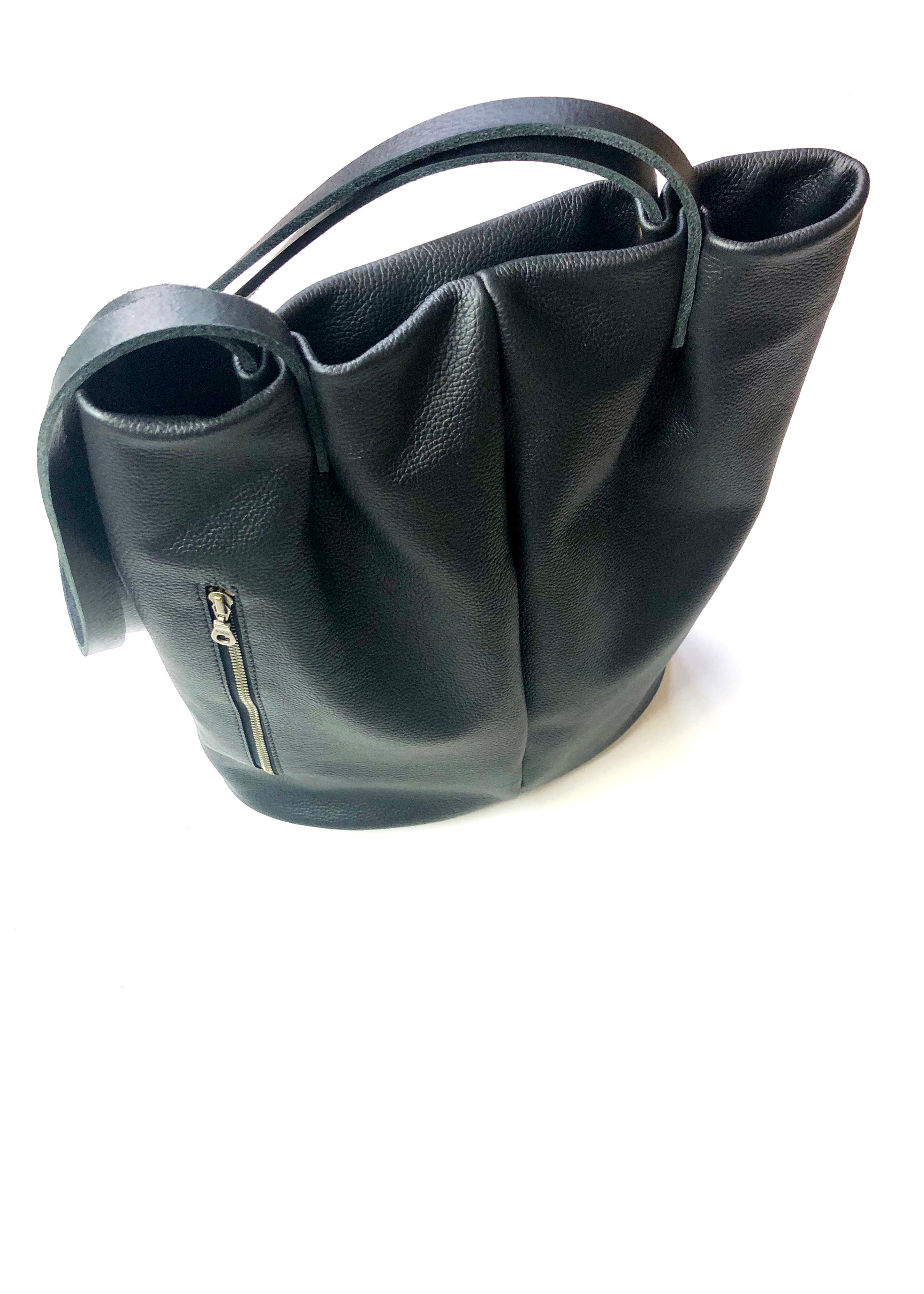 Long Tote In Black Leather