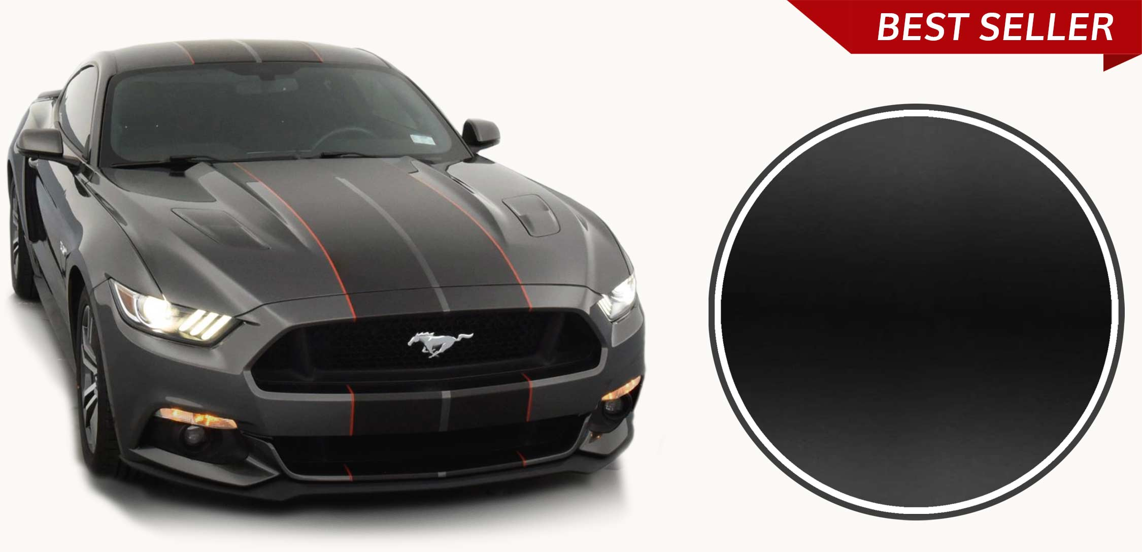 Dual matte black racing stripes with red pinstriping on a grey Ford Mustang 2015 2016 2017