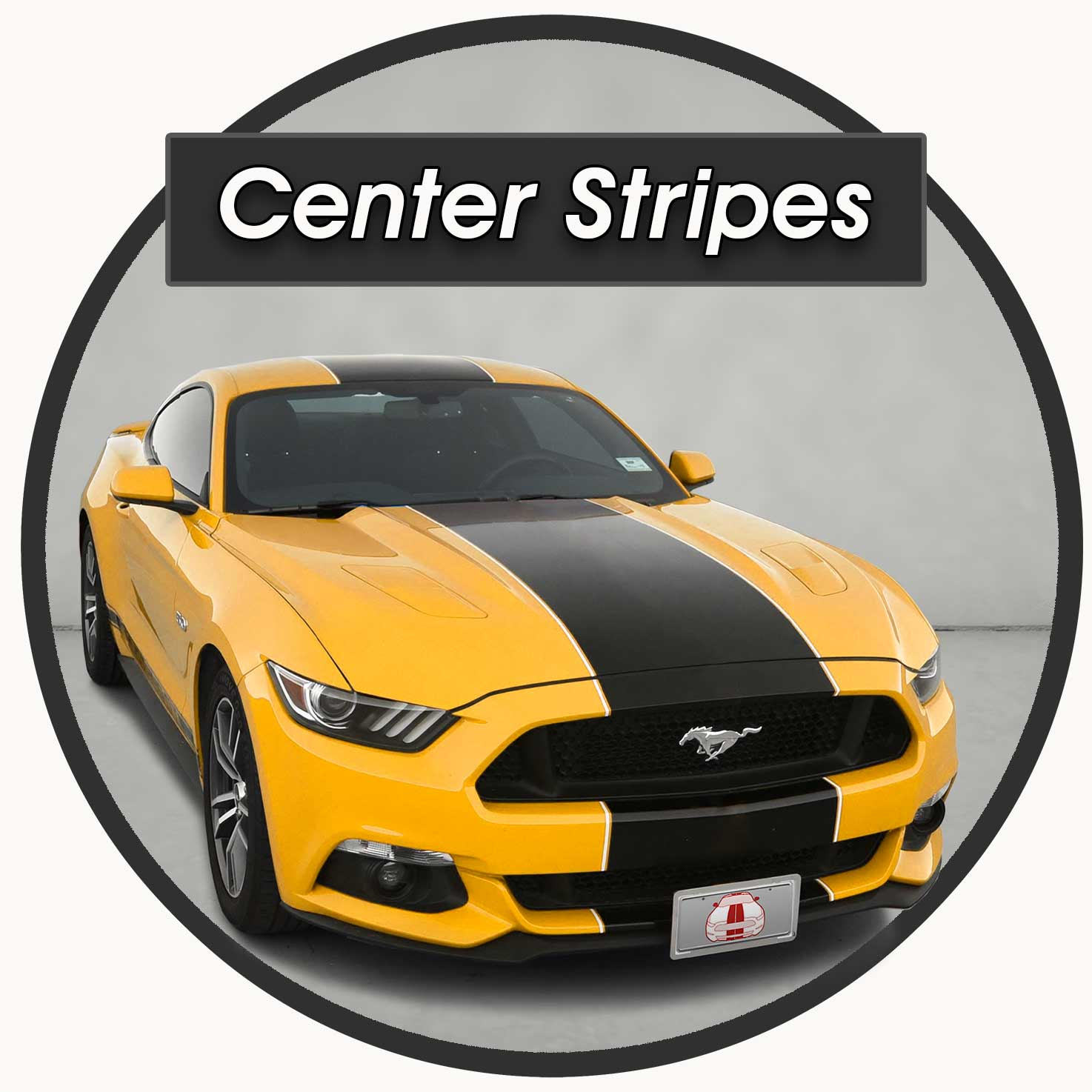 Center Racing Stripes Shelby Super Snake Style on a yellow ford Mustang