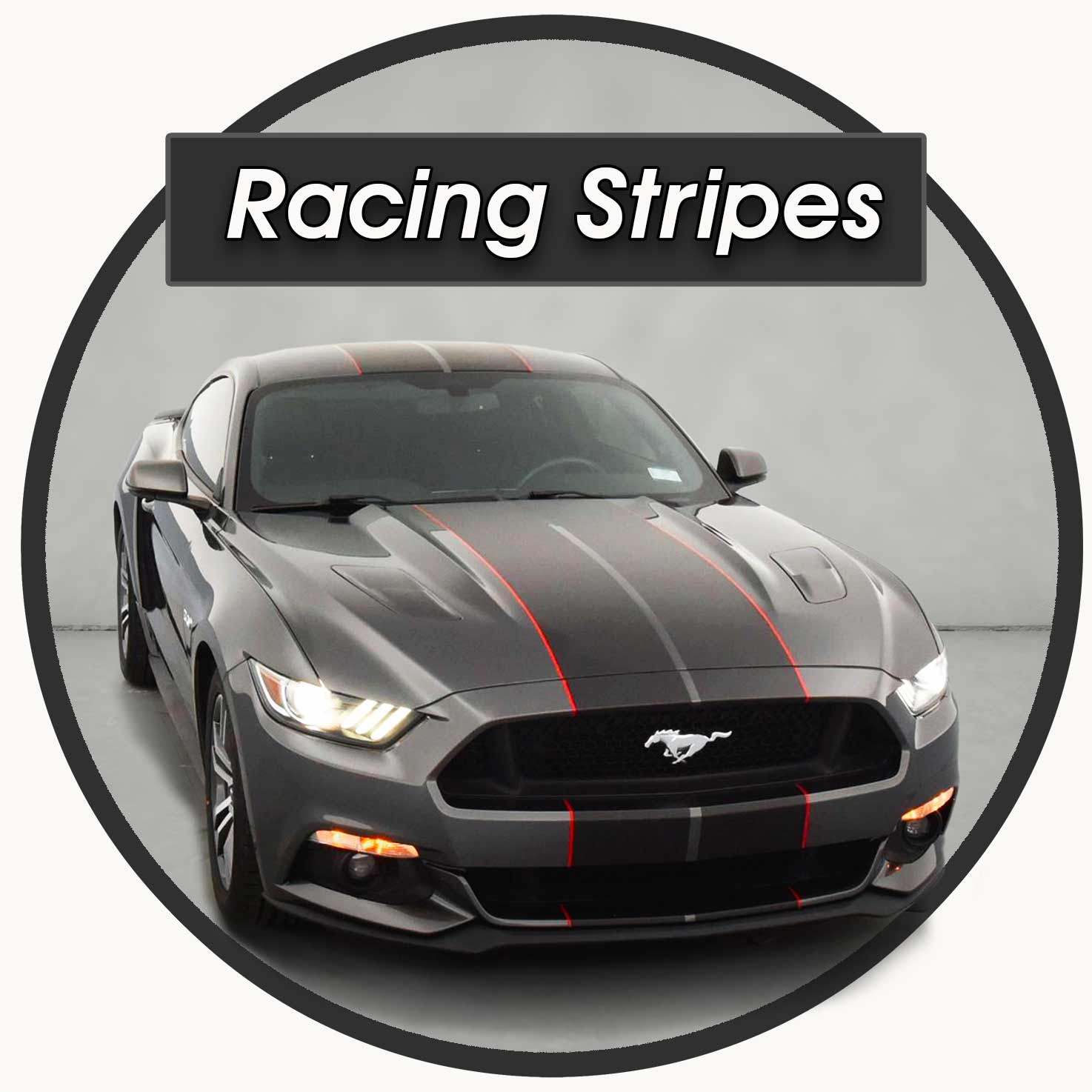 Ford Mustang Racing Stripes with red pinstriping GT350 style