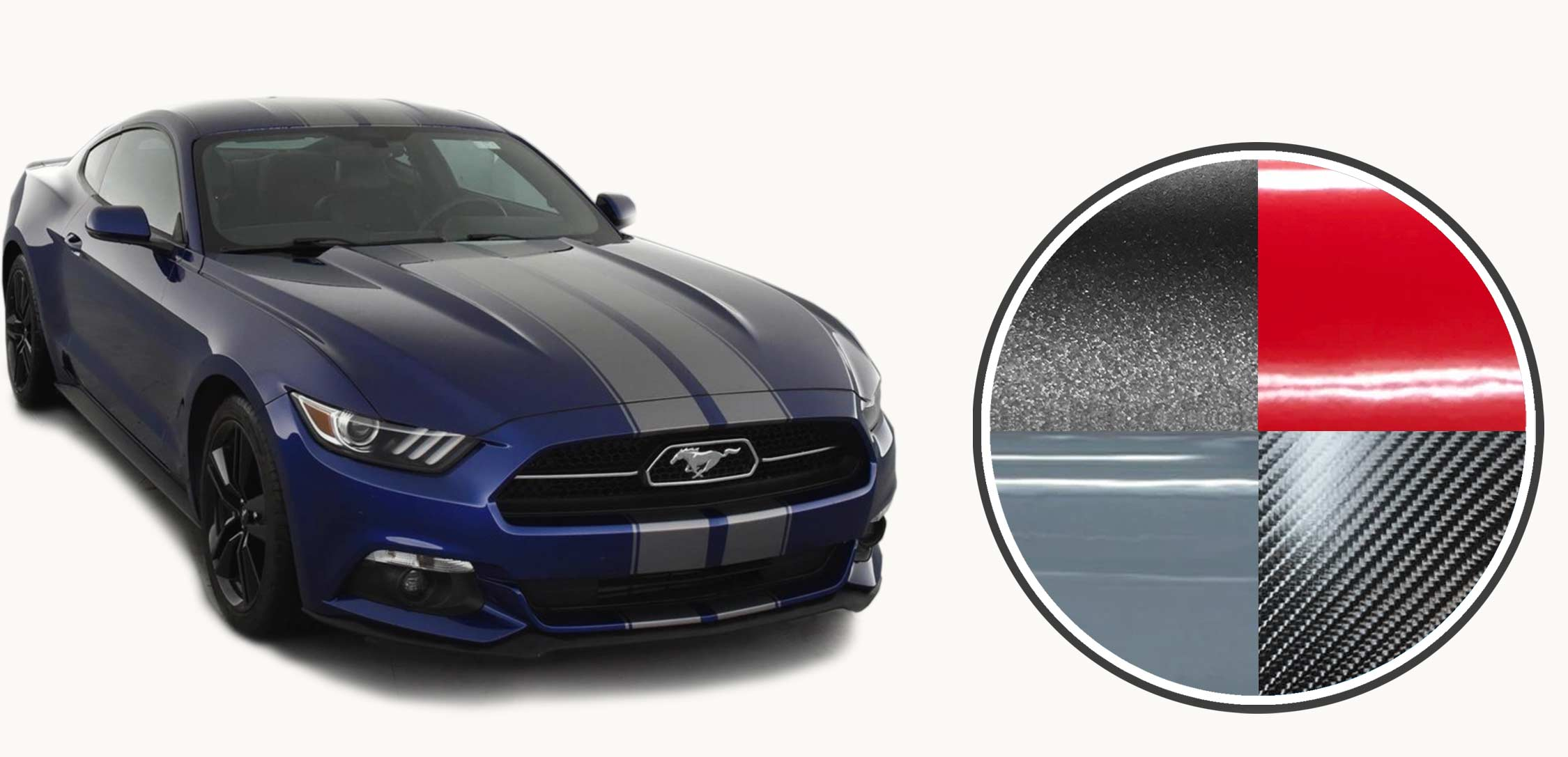 Dark grey Racing stripes and decals on a navy Ford Mustang