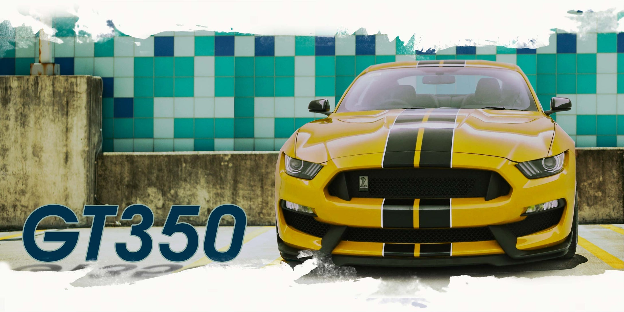 a yellow Shelby GT350 Mustang with glossy black racing stripes with white pinstriping