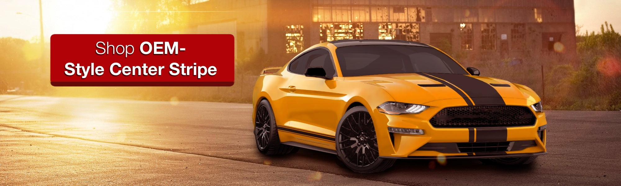OEM Stype 2018 Mustang Yellow mustang Matte Black center stripe with pinstripe product photo