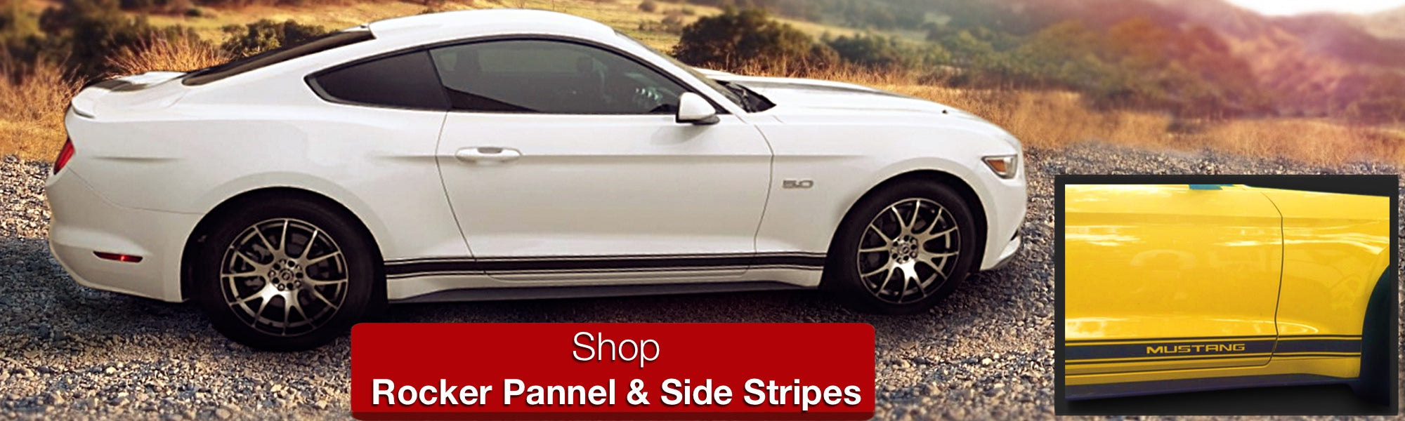 Side Stripes Matte Black OEM Style Rocker pannel Decals Vinyl on yellow white mustang 2015 2016 2017 2018