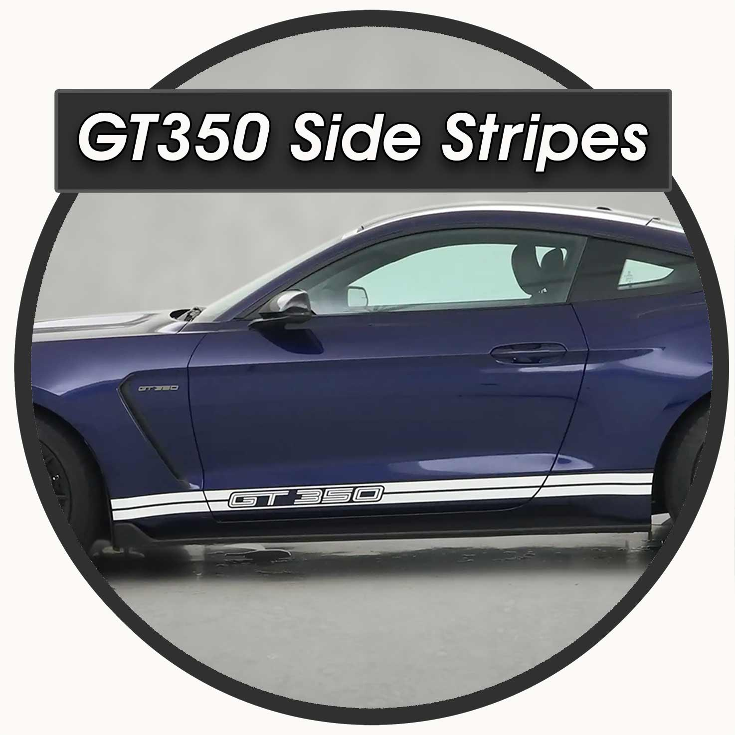 white side stripes on a Shelby GT350 Mustang 2016-2020