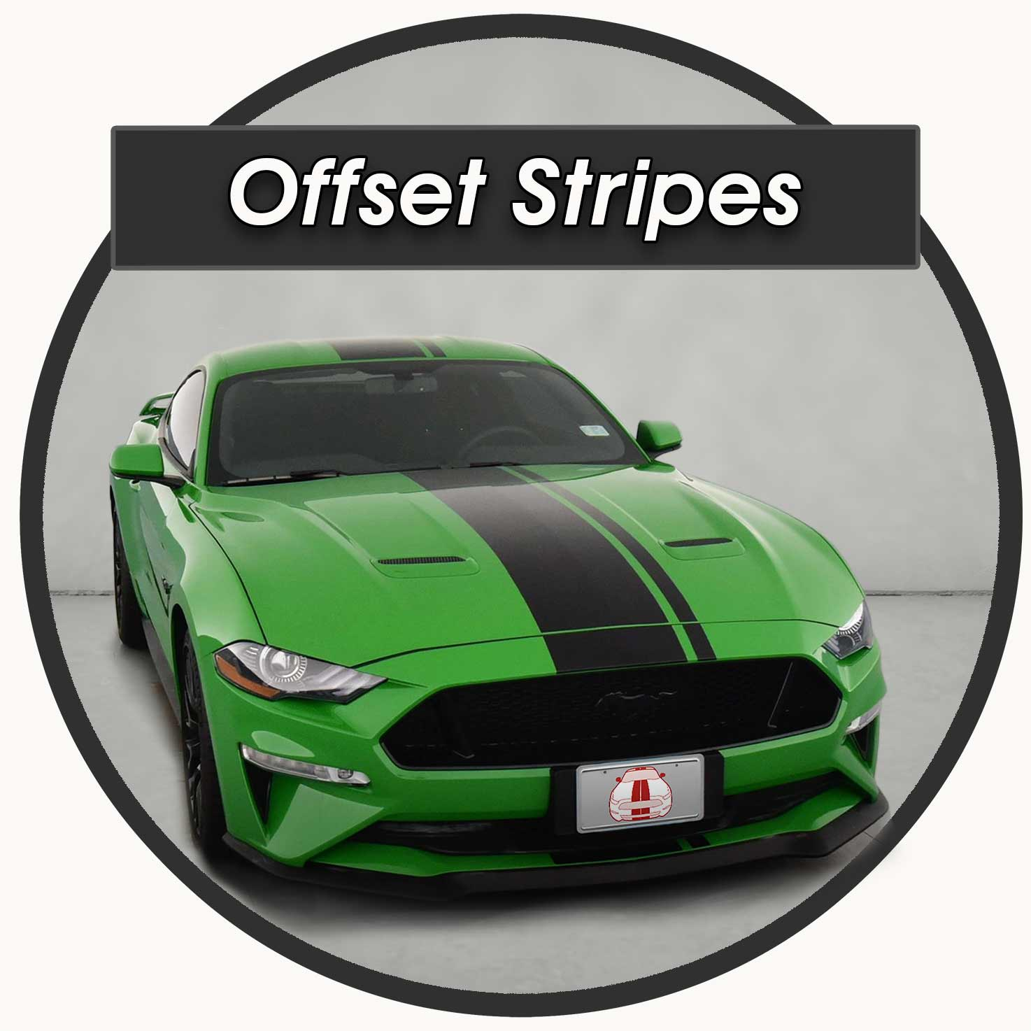 Offset Center stripes on a green mustang exterior vinyl decals for sale