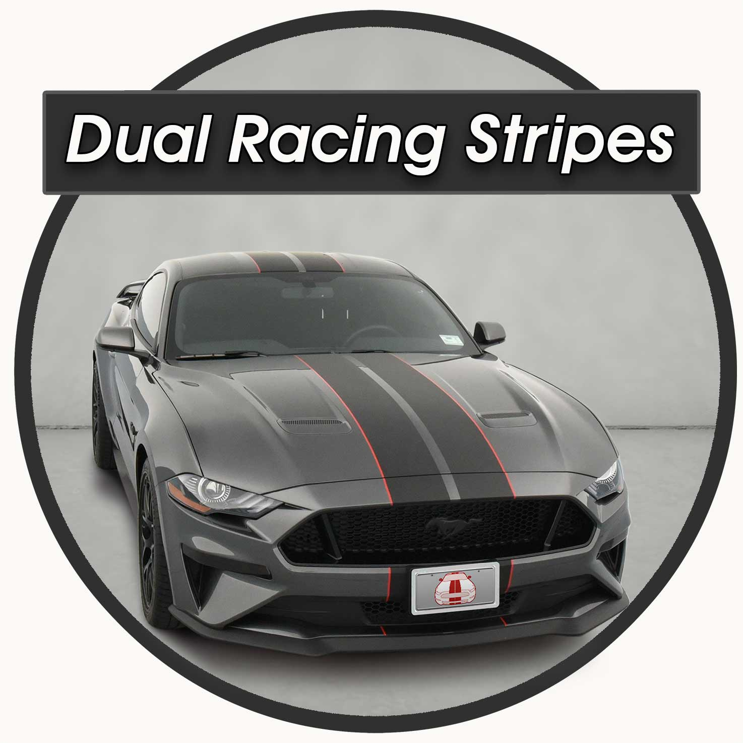 Matte Black with red pinstriping Dual Racing Stripes for sale for a Ford Mustang 2018-2021