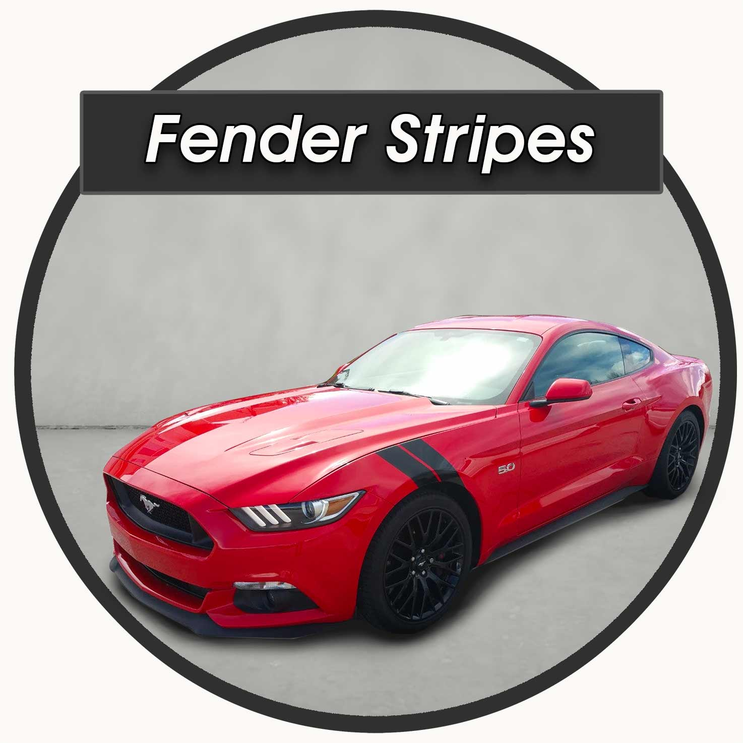 Fender Stripes Shark Gill style decal for a Ford Mustang for sale