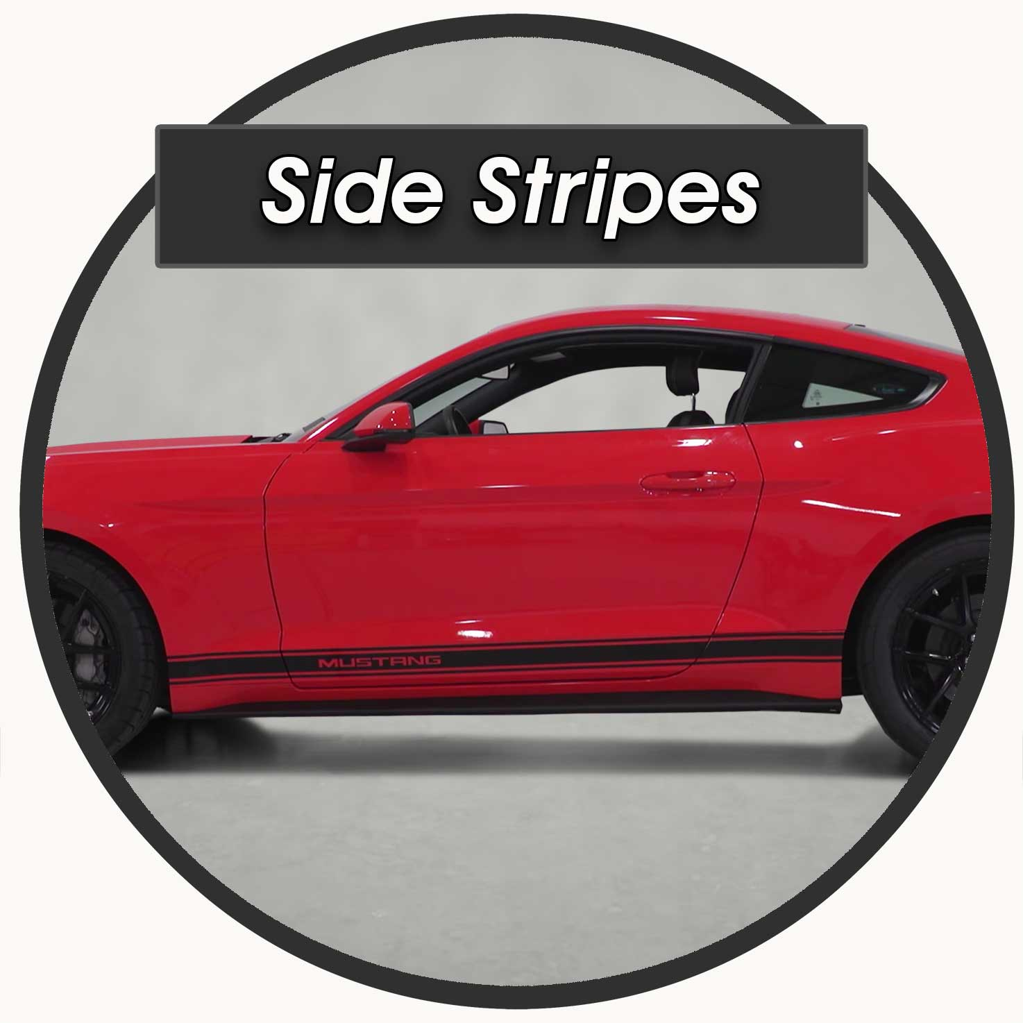 Side Stripes on a Red Ford Mustang for sale 2015-2021