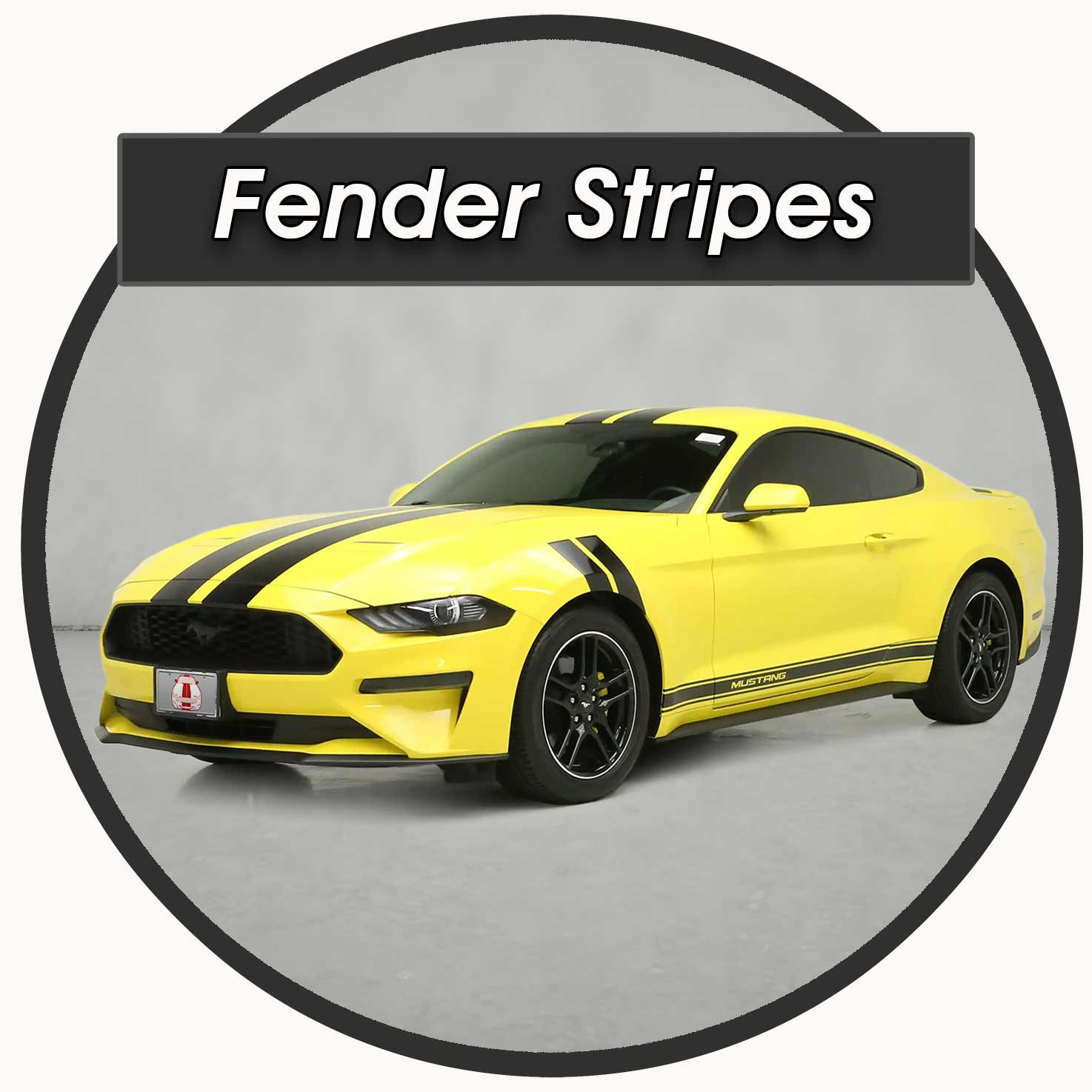 Hash Fender stripes on a yellow mustang for sale
