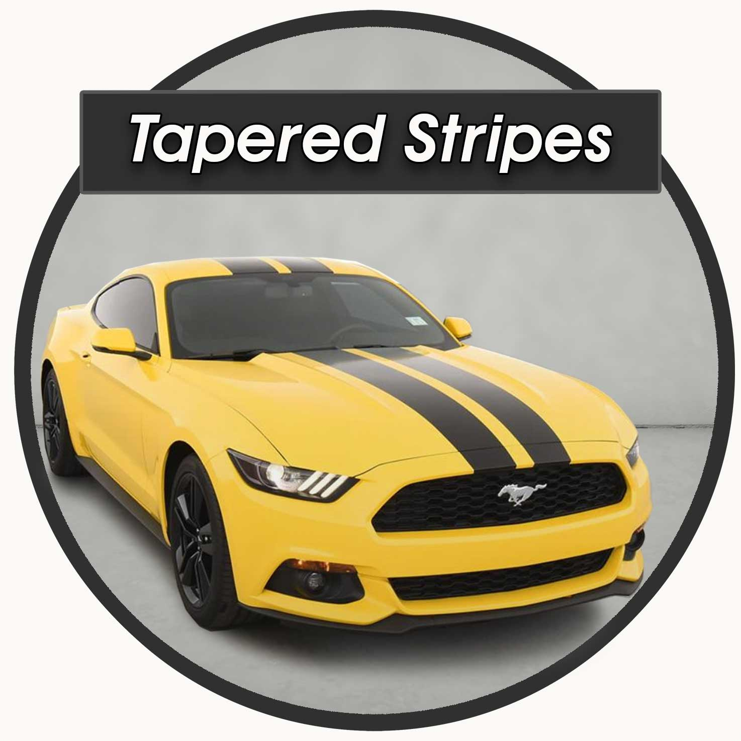 Tapered Racing Stripes Hood Decals For the Ford Mustang