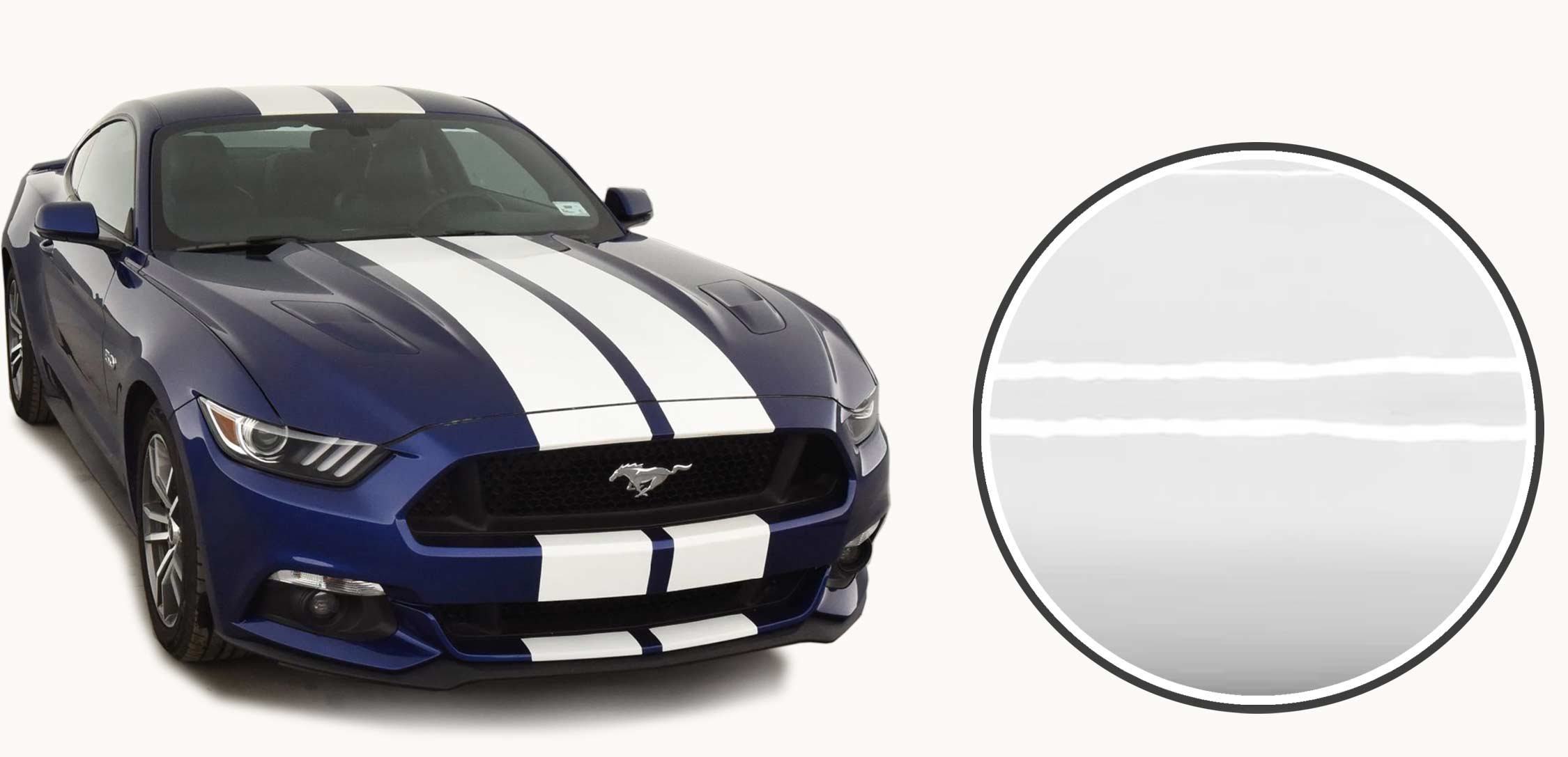 White racing stripes on a Ford Mustang GT in blue 2015 2016 2017