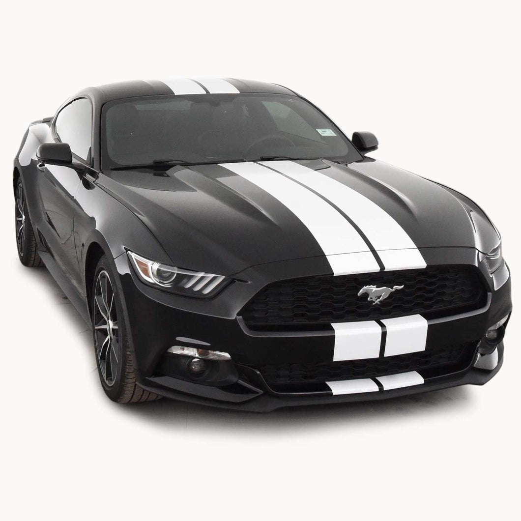Glossy White Racing Stripes with Pinstripes for a 2015, 2016, or 2017 Mustang