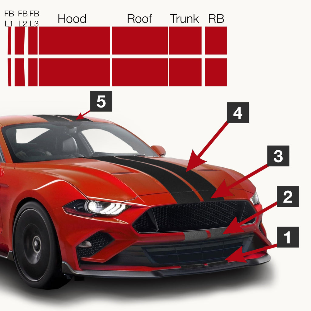 Gt350R For Sale >> Mustang Pre-Cut Dual Racing/Rally/Lemans Stripes: 7 Inch ...