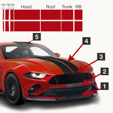 Mustang Pre-Cut Dual Racing/Rally/Lemans Stripes: 7 Inch FULL KIT (Matte/Glossy Black/White)