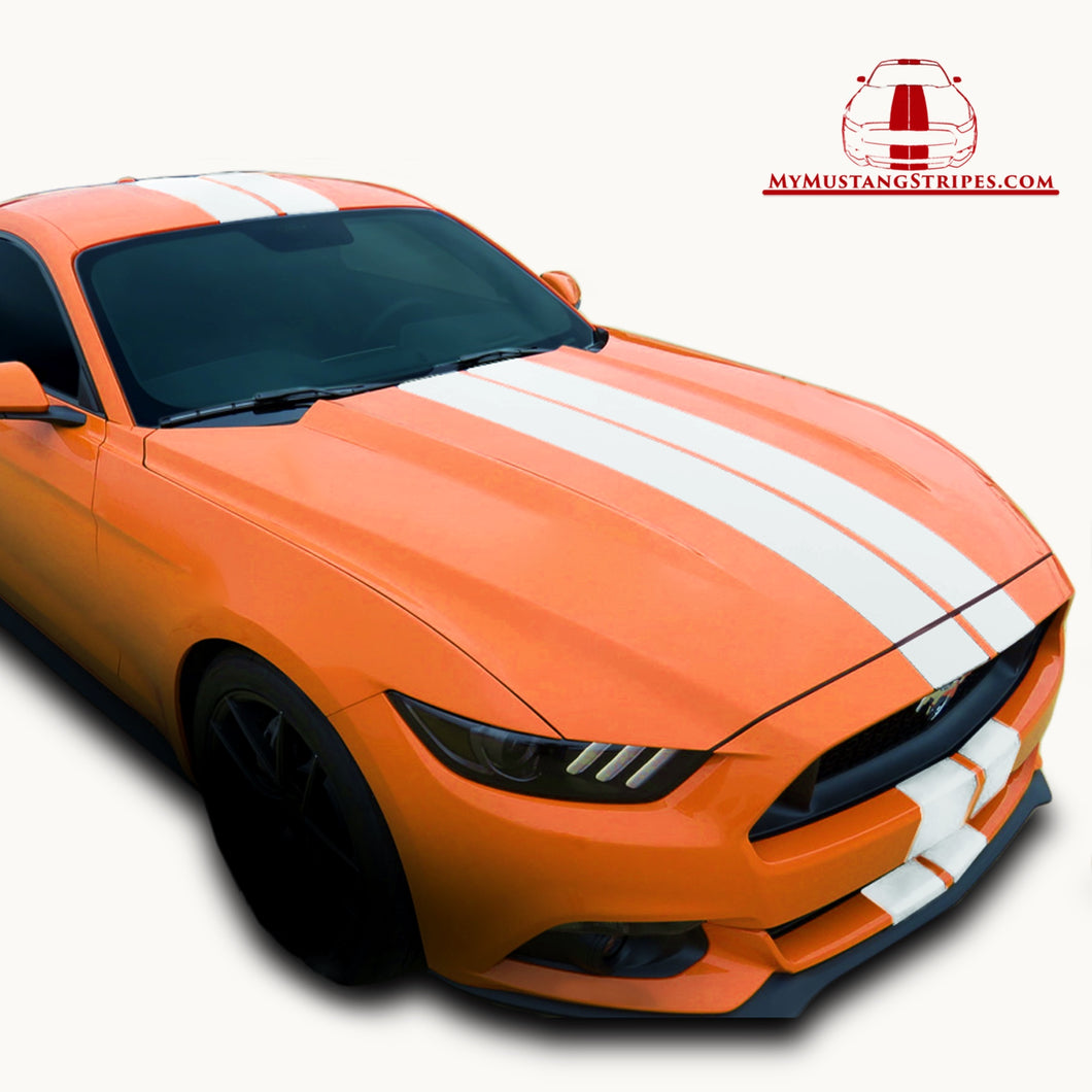 Matte/Glossy/Diamond White PRE-CUT Dual Racing Stripes: 8-10 Inch FULL KIT (2015, 2016, 2017 Mustang)