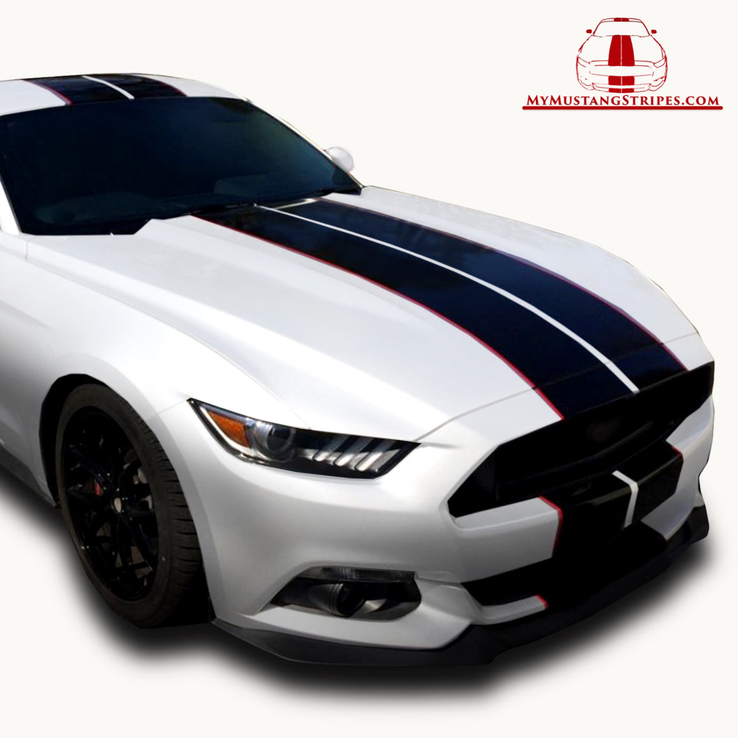 Glossy Black PRE-CUT Dual Racing Stripes with Pinstripe: 8-10 Inch FULL KIT (2015, 2016, 2017 Mustang)