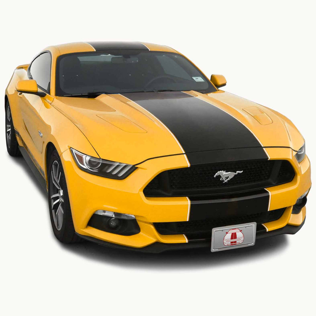 Matte Black PRE-CUT Center Racing Stripe with Pinstripes (Super Snake): 15-20 Inch FULL KIT (2015, 2016, 2017 Mustang)