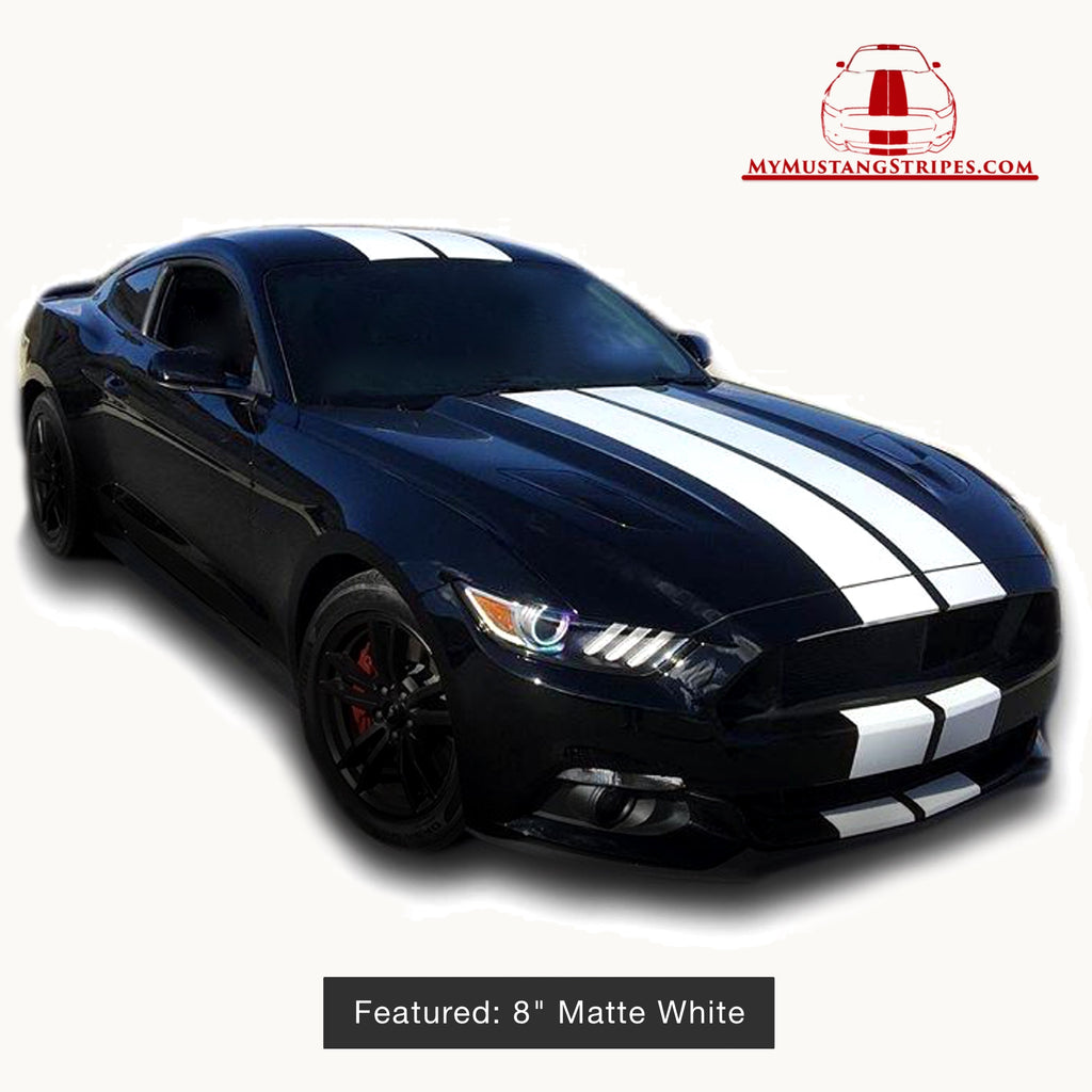 Mustang Gt350R For Sale >> Matte/Glossy/Diamond White PRE-CUT Dual Racing Stripes: 8 ...