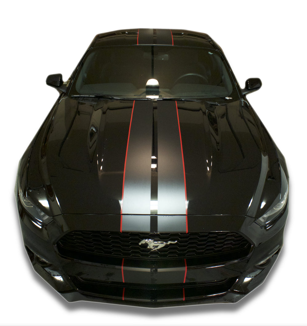 2015 2016 2017 Mustang Racing Stripes Matte Black With Red Pinstripe