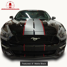 Matte Black PRE-CUT Dual Racing Stripes with Pinstripe: 8-10 Inch FULL KIT (2015, 2016, 2017 Mustang)