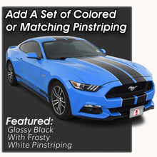 Glossy Black Racing Stripes with Pinstripes for a 2015, 2016, or 2017 Mustang
