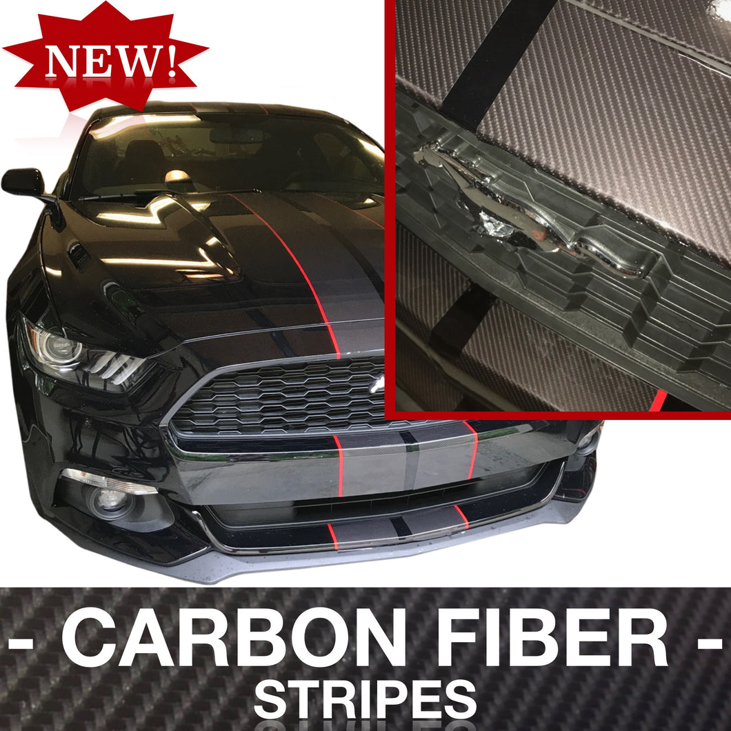 CARBON FIBER PRE-CUT Dual Racing Stripes with Pinstripe: 8-10 Inch FULL KIT (2015, 2016, 2017 Mustang)