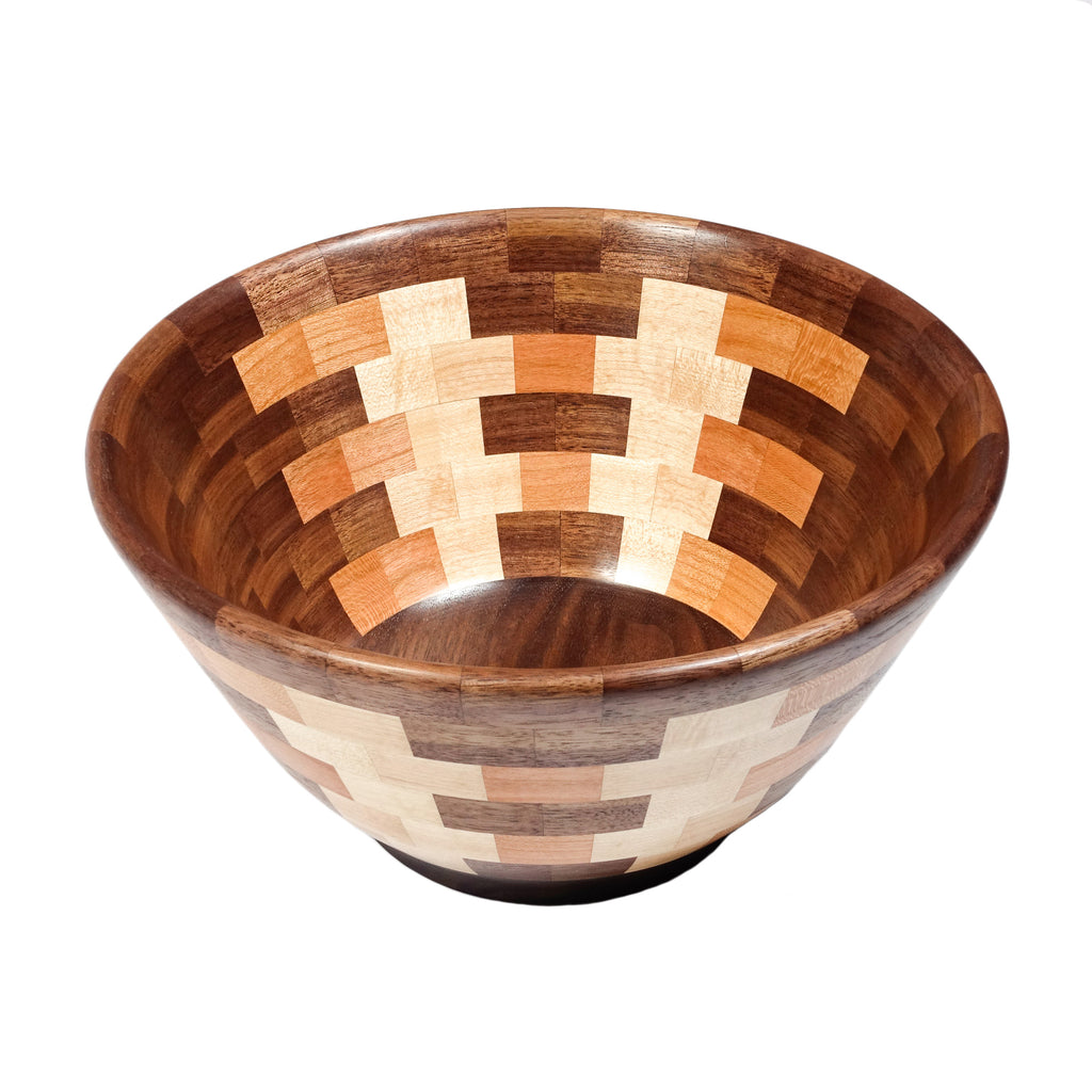 Walnut Ladder Pattern Salad Bowl