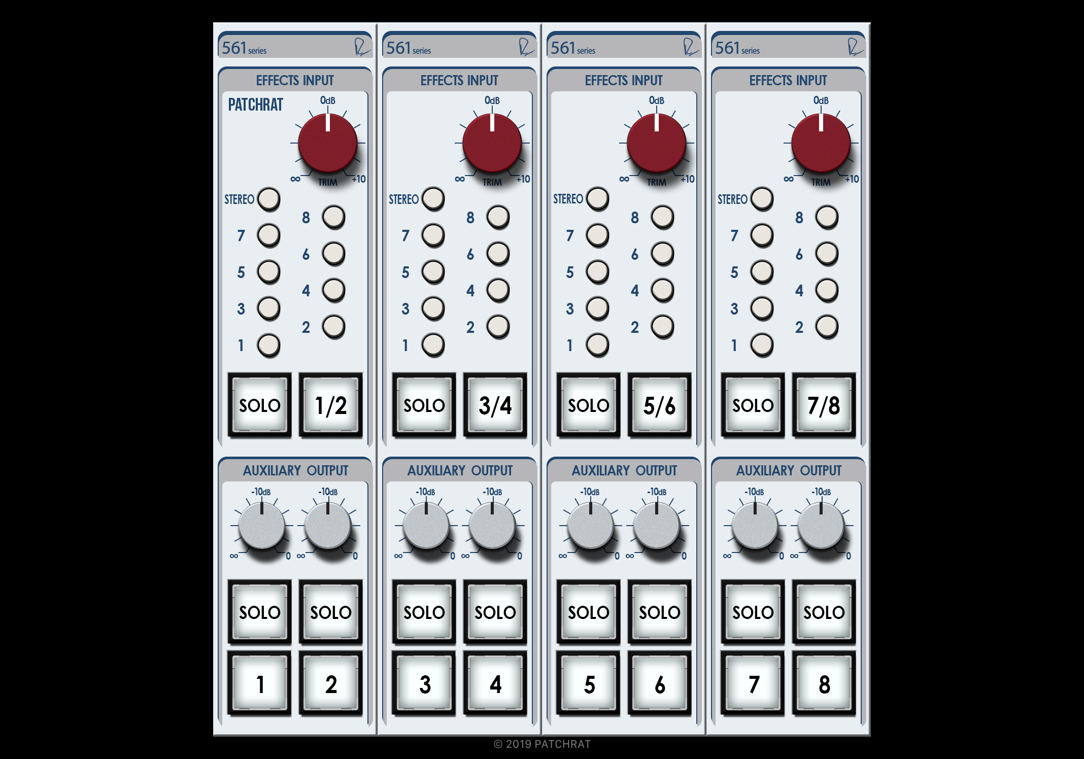 Rupert Neve Designs 5088 Aux Masters recall module for the Patchrat app