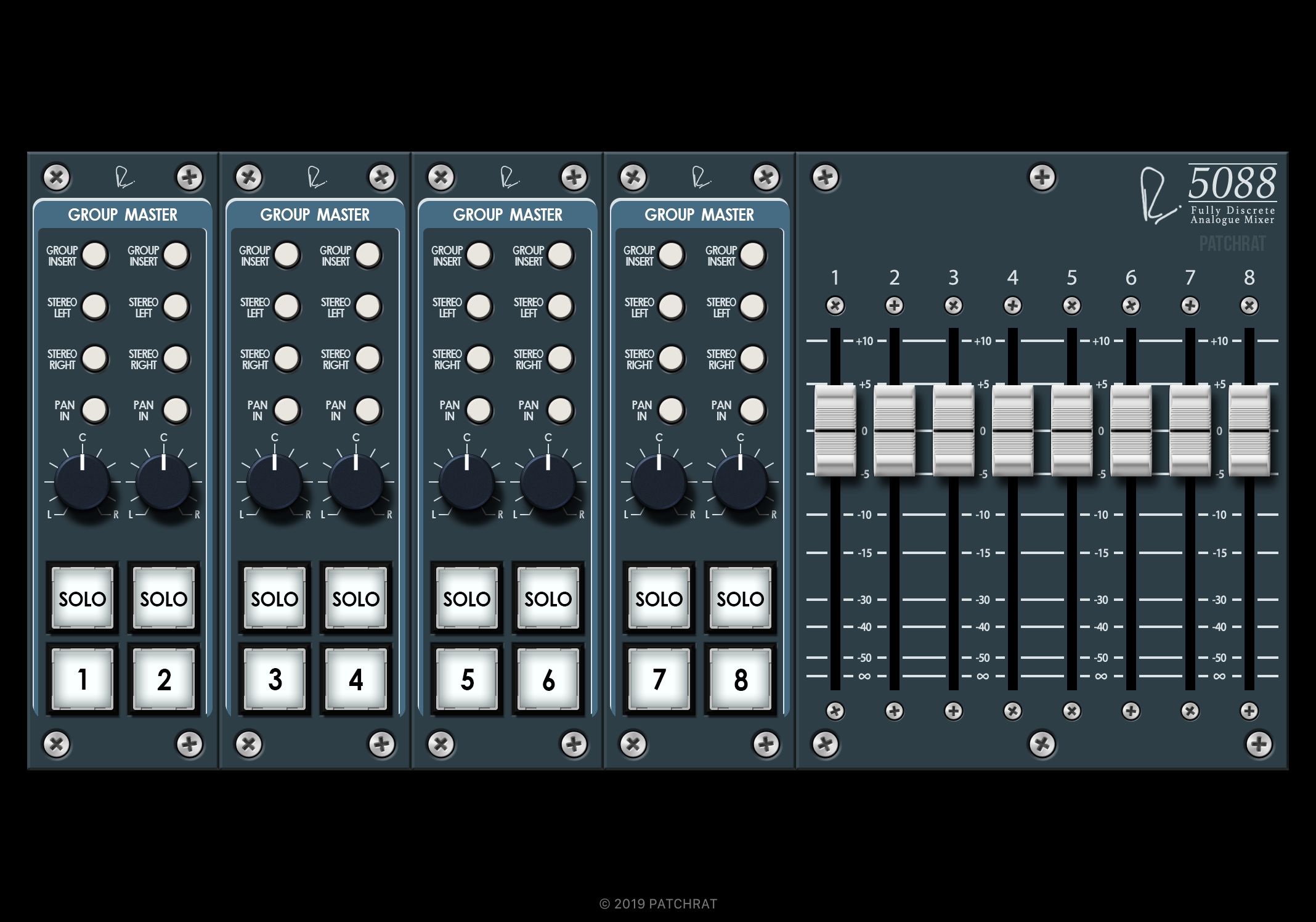 Rupert Neve Designs 5088 Group Masters recall module for the Patchrat app