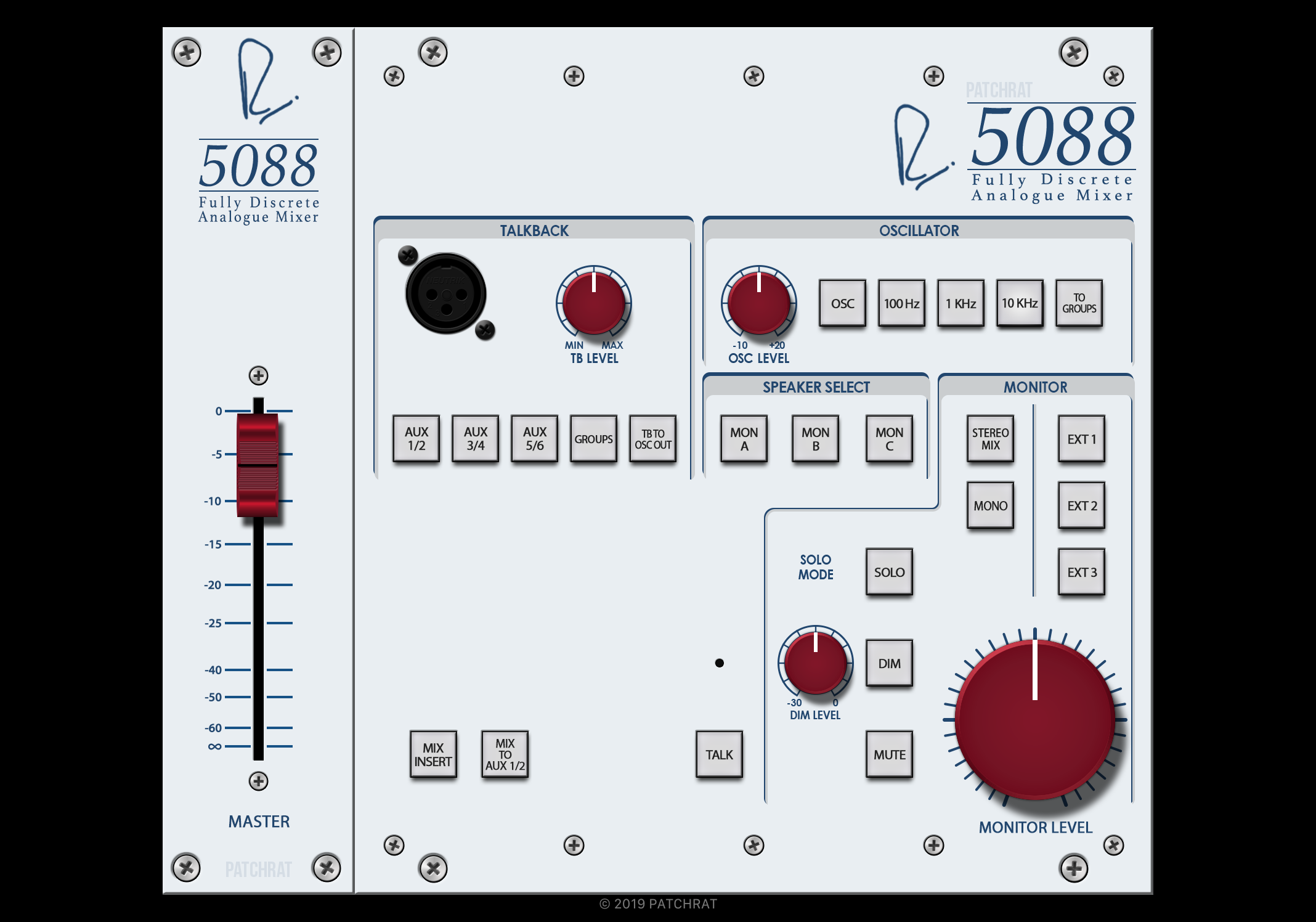 Rupert Neve Designs 5088 Master Section recall module for the Patchrat app