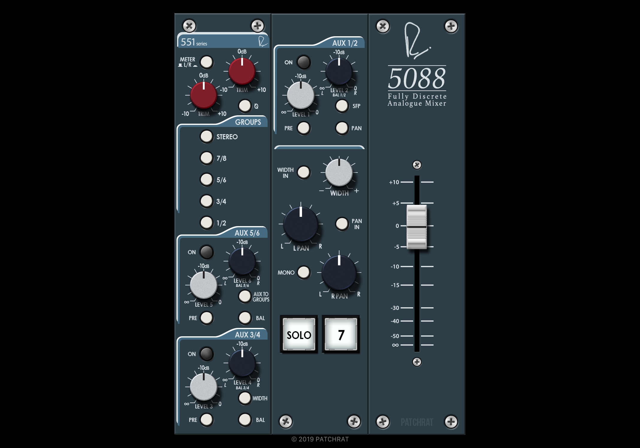 Rupert Neve Designs 5088 Stereo Input Channel recall module for the Patchrat app