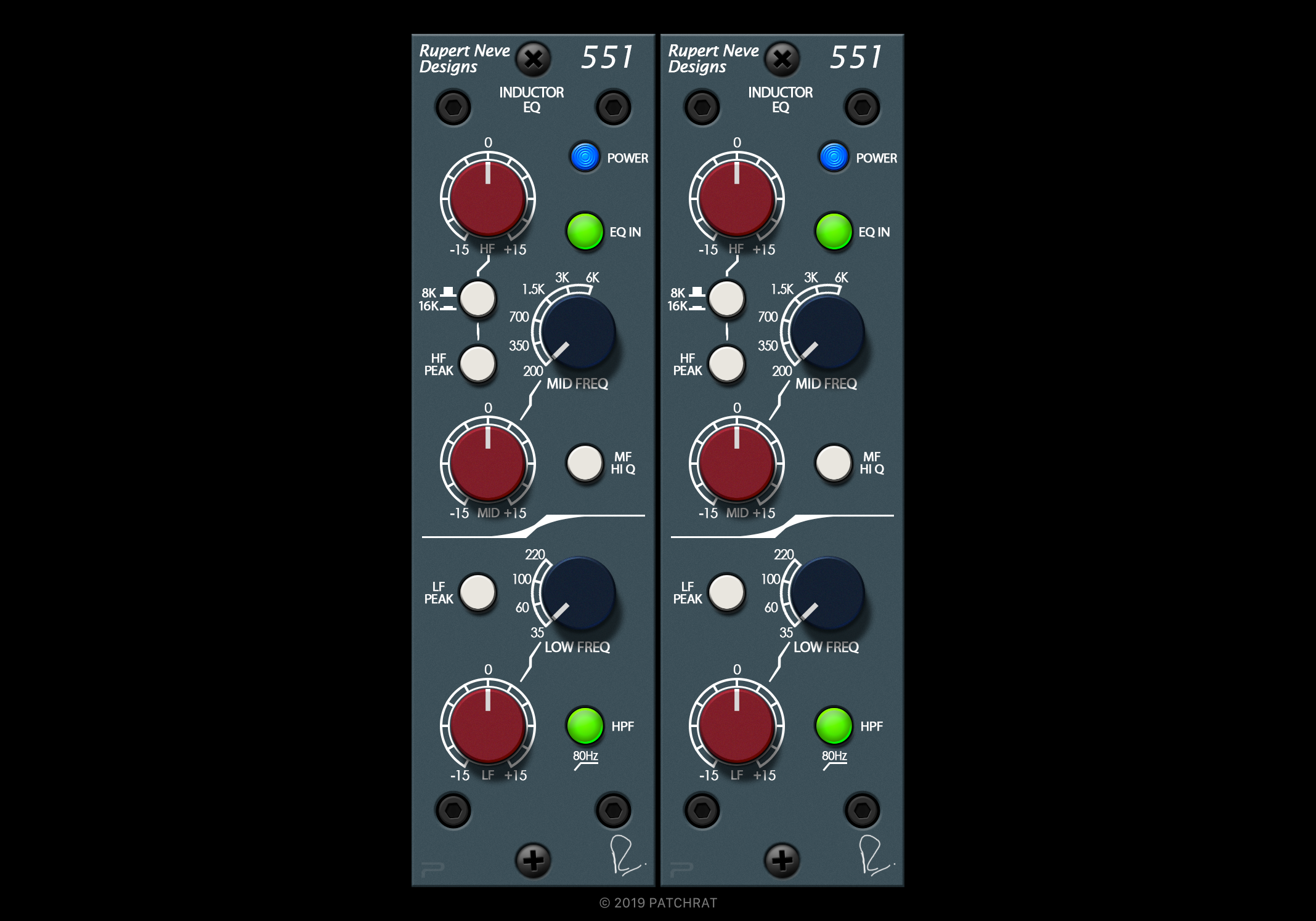 Rupert Neve Designs 551 recall module for the Patchrat app