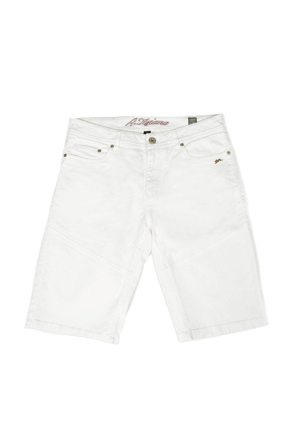 A.Tiziano Greg Twill Shorts With Sanding -White