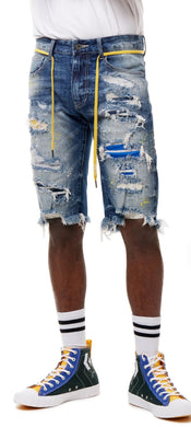 Smoke Rise Fashion Denim Shorts with Paint- Pebble Blue