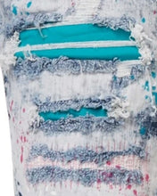 Smoke Rise Fashion Denim Shorts with Paint- Axel Blue