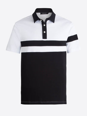 BUGATCHI Short Sleeve Polo Black/White