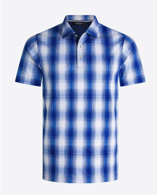 BUGATCHI Short Sleeve Polo Nacy Checker