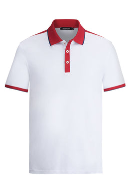 BUGATCHI Short Sleeve Polo White/Red Collar