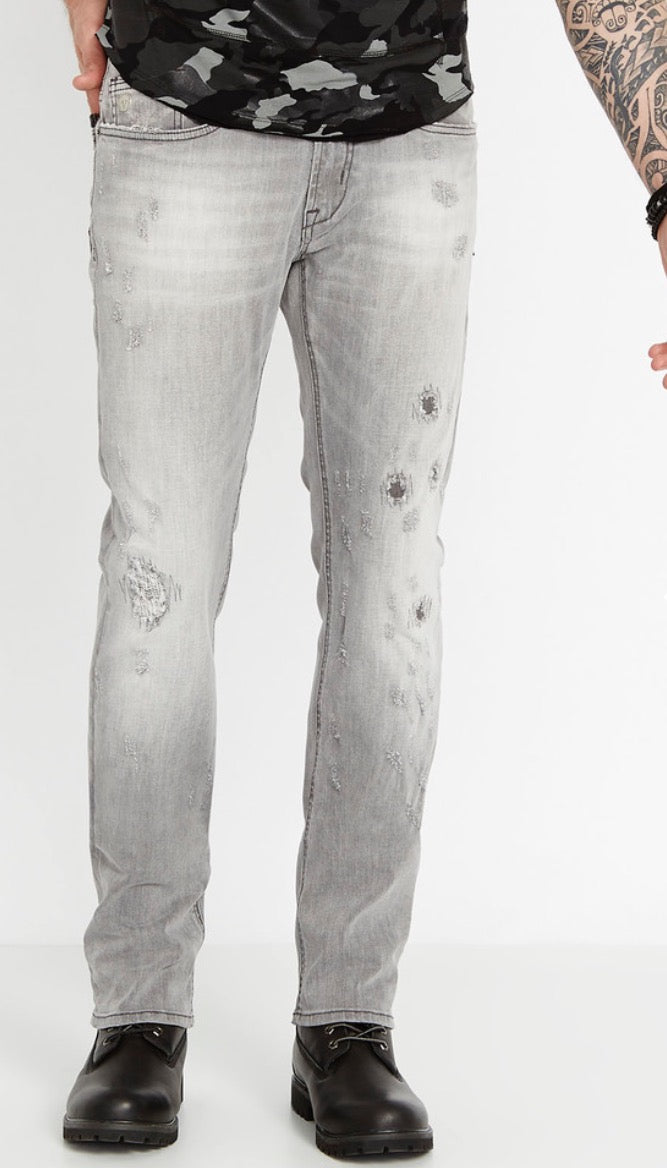 Buffalo David Bitton Evan‑X Slim‑Fit-Distressed Gray Denim