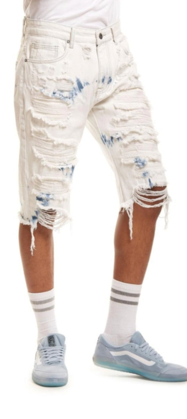 Smoke Rise Fashion Rip & Repair Denim Shorts White