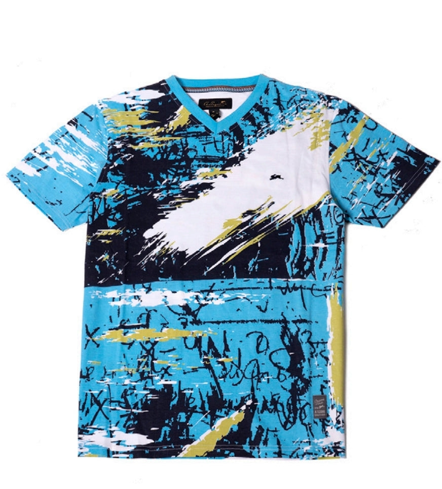 A.Tiziano Zach Short-Sleeve Scribbles and Brush Strokes Print Shirt