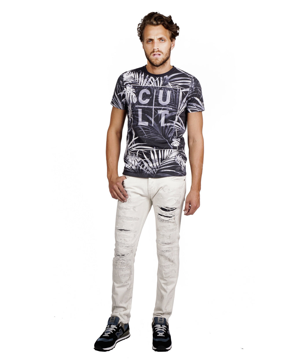 Cult of Individuality Greaser Straight in Lotus Denim