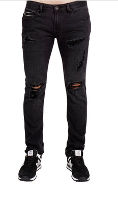 Cult of Individuality Men's Rocker Slim Denim Jeans Premium Stretch in Vintage Black