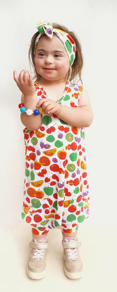 Tutti Fruiti Romper with Matching top knot