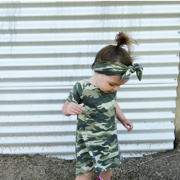 High Low Dress Camo Matching top knot